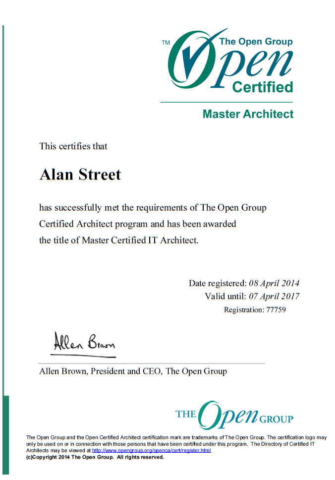 Open Group Certification Master Certified Architect Alan Street